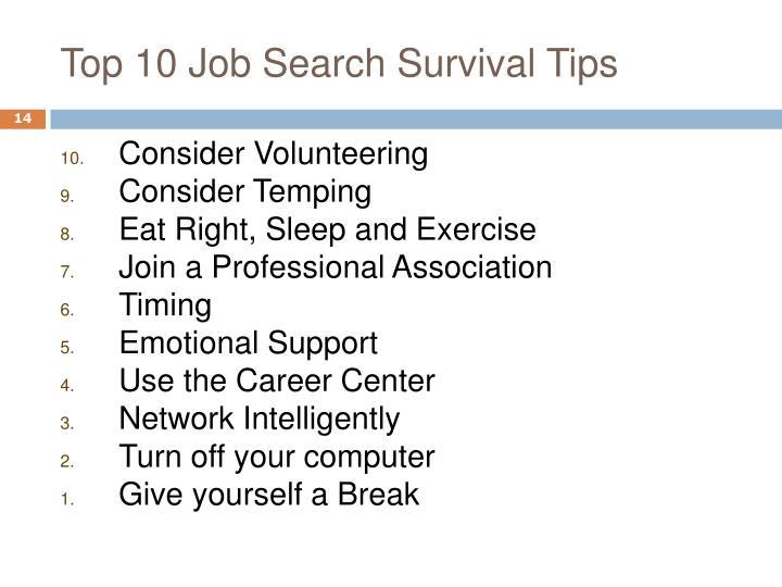 Top 10 Job Search Survival Tips