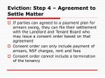 eviction step 4 agreement to settle matter