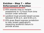 eviction step 7 after enforcement of eviction