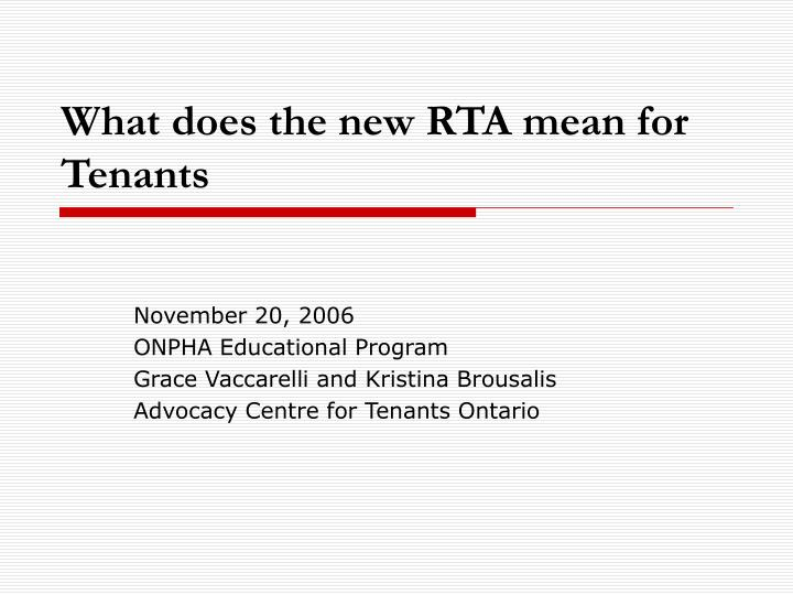 what does the new rta mean for tenants n.