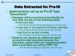 data extracted for pre id