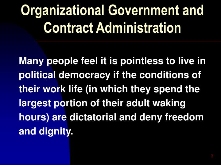 Organizational government and contract administration2