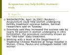 acupuncture may help fertility treatment study by maggie fox washington april 16 2002 reuters