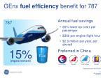 genx fuel efficiency benefit for 787