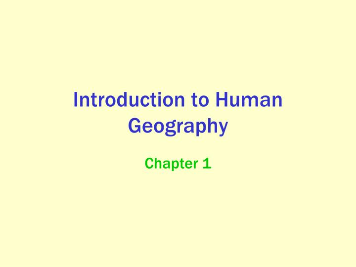 introduction to human geography n.