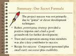 summary our secret formula