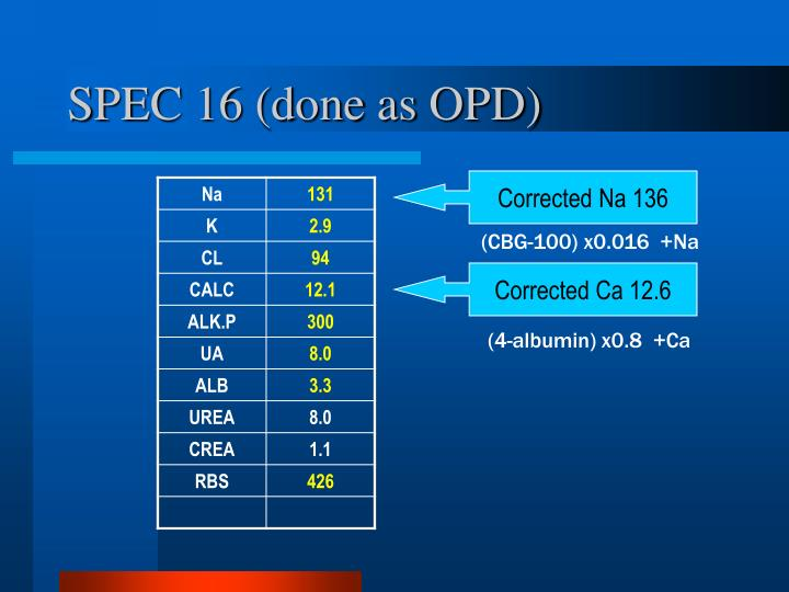 SPEC 16 (done as OPD)