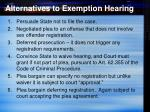 alternatives to exemption hearing
