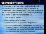 exemption hearing