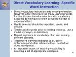 direct vocabulary learning specific word instruction