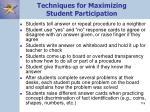 techniques for maximizing student participation