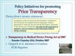 policy initiatives for promoting price transparency