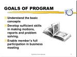 goals of program