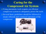 caring for the compressed air system