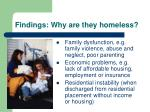findings why are they homeless