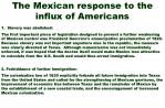 the mexican response to the influx of americans