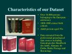 characteristics of our dataset