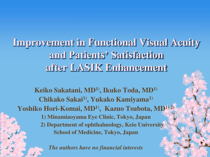 improvement in functional visual acuity and patients satisfaction after lasik enhancement n.