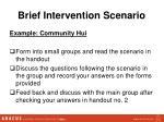 brief intervention scenario
