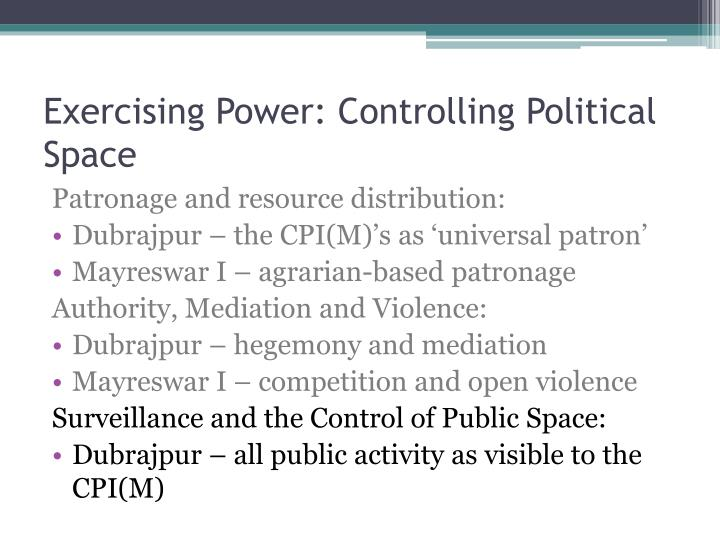 Exercising Power: Controlling Political Space