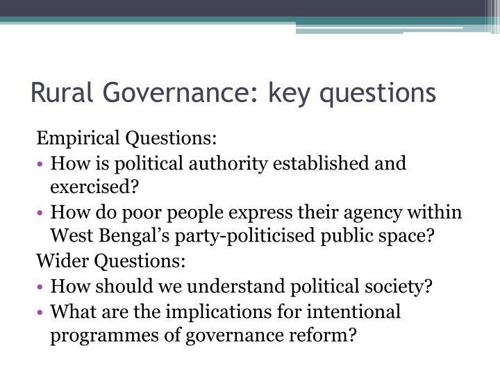 Rural Governance: key questions