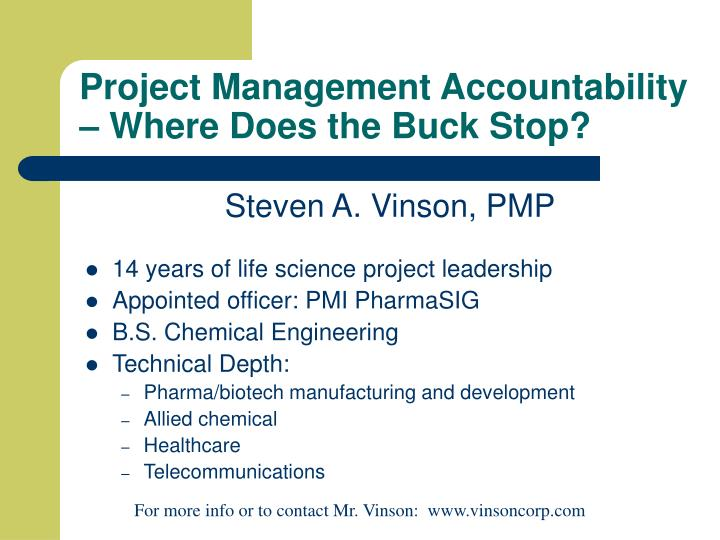 project management accountability where does the buck stop n.