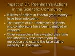 impact of dr poehlman s actions in the scientific community