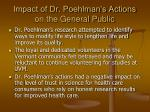 impact of dr poehlman s actions on the general public