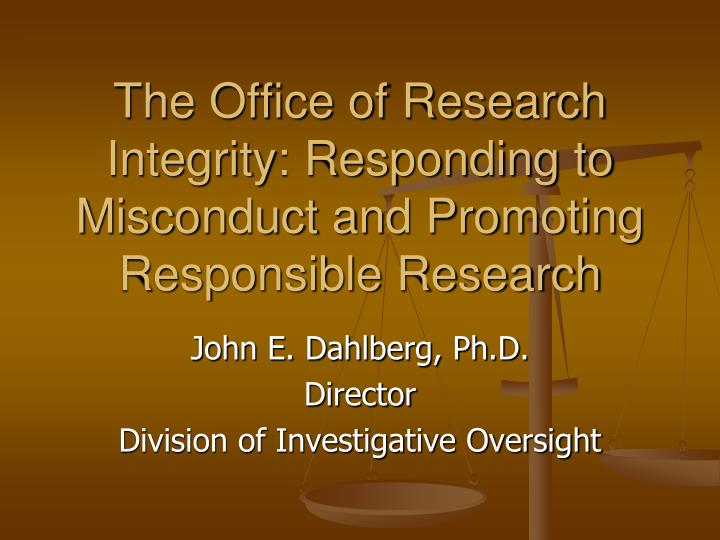 the office of research integrity responding to misconduct and promoting responsible research n.