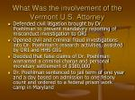 what was the involvement of the vermont u s attorney