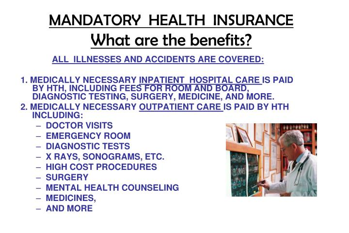 mandatory health insurance essay Research papers on the mandatory massachusetts health insurance law mandatory massachusetts health insurance law research papers preview a sample of an order placed concerning a health care policy, with specifics on the state of massachusetts.