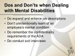 dos and don ts when dealing with mental disabilities
