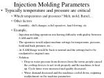 injection molding parameters