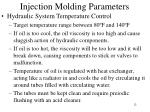 injection molding parameters8