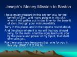 joseph s money mission to boston
