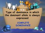 type of dominance in which the dominant allele is always expressed