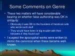 some comments on genre1