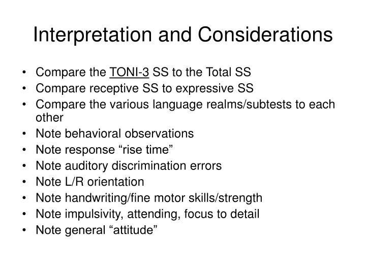 Interpretation and Considerations