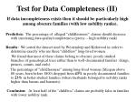 test for data completeness ii