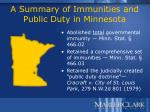 a summary of immunities and public duty in minnesota