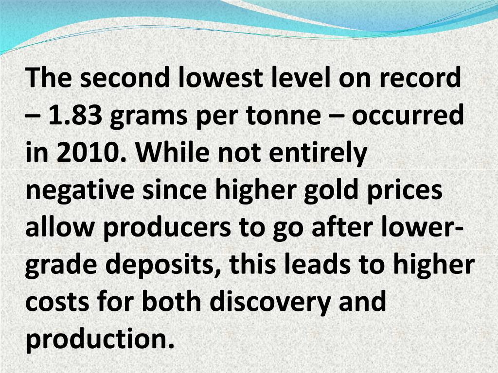 The second lowest level on record – 1.83 grams per