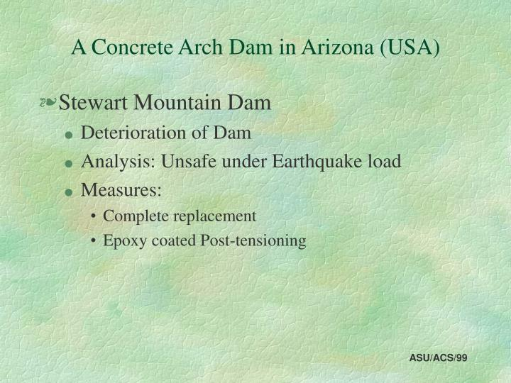 a concrete arch dam in arizona usa n.