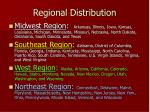 regional distribution