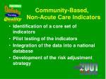 community based non acute care indicators