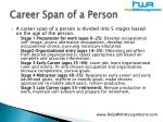 career span of a person