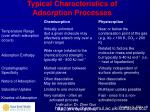 typical characteristics of adsorption processes