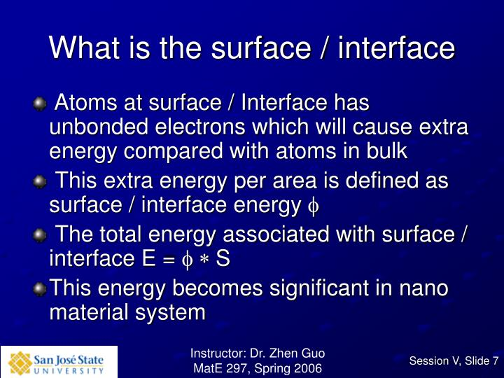 What is the surface / interface