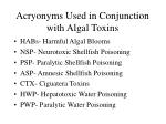 acryonyms used in conjunction with algal toxins
