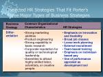 selected hr strategies that fit porter s three major types of business strategies1