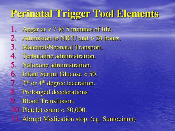 Perinatal Trigger Tool Elements